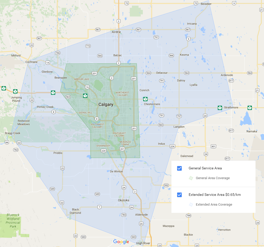 Calgary Appliance Service 187 Service Coverage Map